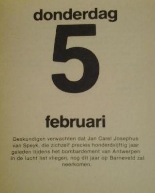 Van Speijk in de kalender van Van Kooten en De Bie