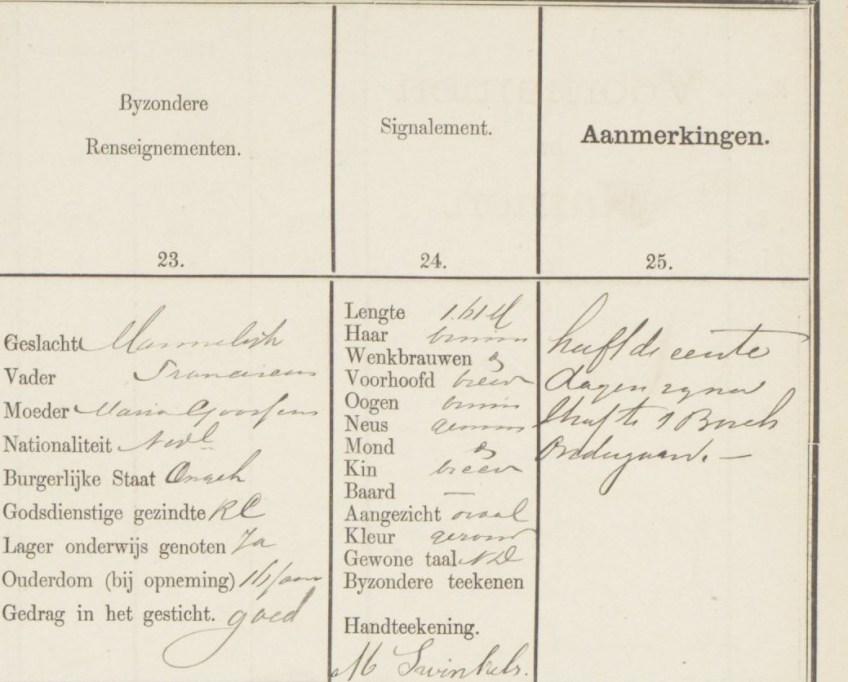 Beschrijving van Martinus Swinkels in het gevangenisregister. Vergelijk zijn handtekening met de eerste foto...