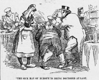Cartoon uit 1898 met 'de zieke man van Europa'