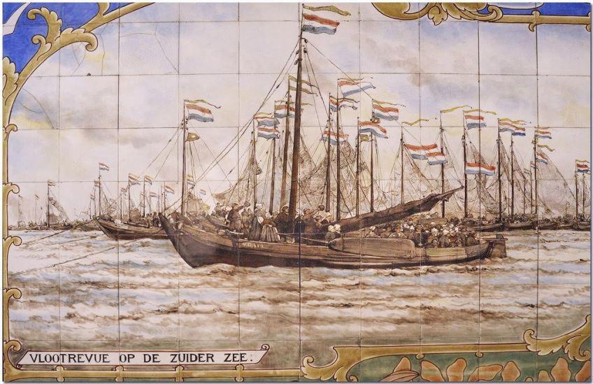 Detail van het tegeltableau van de vlootschouw