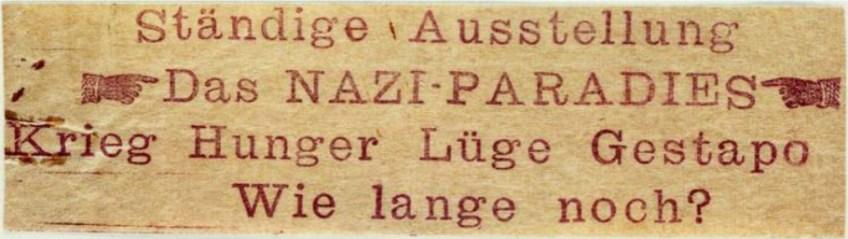 Een van de anti-naziboodschappen van de 'Rote Kapelle'.