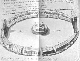 Tekening van Rudolf Samuel Henzi over een festiviteit in Parijs