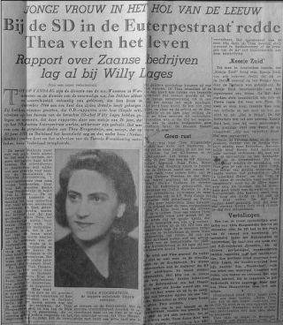 Het artikel dat op 4 mei 1960 verscheen in de Alkmaarsche Courant en waarin Thea Hoogensteijn werd beschreven als een vergeten verzetsheldin.