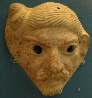 Romeins masker van een Germaan: let op het wonderlijke kapsel (British Museum)