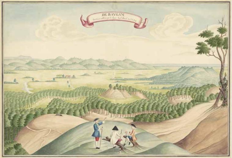 Gezicht op een peperplantage in de Baygam ca. 1750