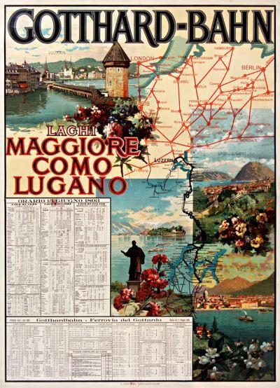 Affiche Gotthardbahn, Gabriele Chiattone, 1893