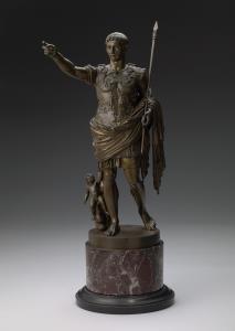 P. Chiapparelli (gieter), Augustus van de Prima Porta, brons en marmer, 1850 – 1899. Collectie Amsterdam Museum, BA 2405