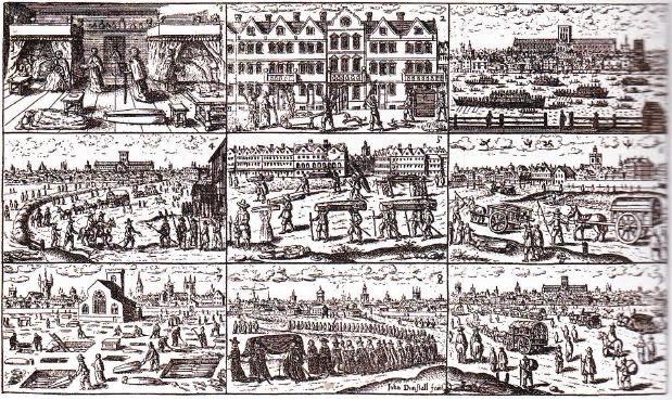 'Beeldverhaal' van de pest in 1665  door John Dunstall. Te zien zijn mensen die de stad ontvluchten en massagraven die worden gevuld.