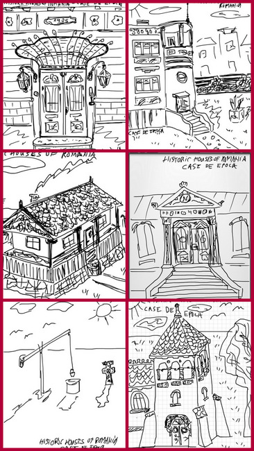 Sketches of representative Romanian historic built landscape sights