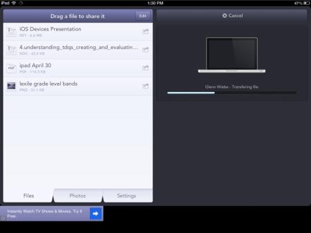 Menu view on iPad