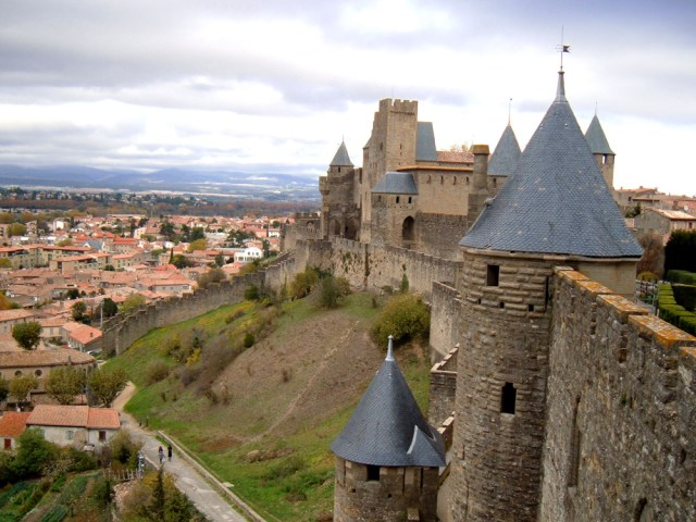 The medieval fortified city walls of Cité de Carcassonne - Carcassonne, France