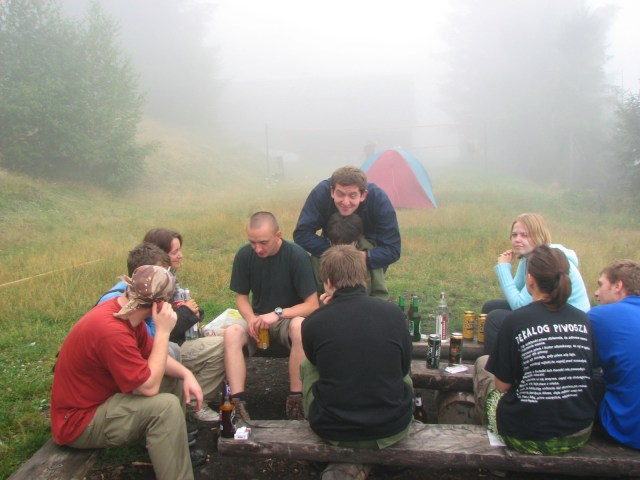 Drinking in the early morning fog with friends, Rogacz, Poland