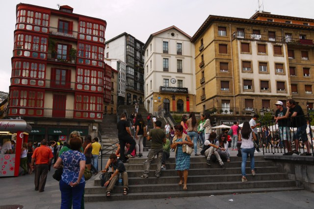 The Mallona stairs on Unamuno square taken in Bilbao old town - Bilbao, Spain - Staying in Bilbao