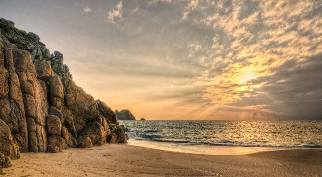 Aimee John Memories-Photography - Porthcurno beach Cornwall looking towards Logan's rock