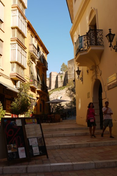 Calle Santiago with the Alcazaba de Málaga in the background, Málaga, Spain (4), staying in Malaga