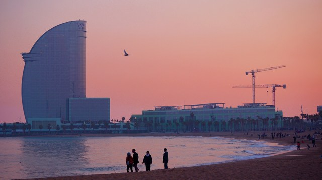Pink sunset - Barcelona beach - Spain, Spain's absolute musts