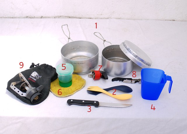 Backpackers checklist: camping & cooking gear