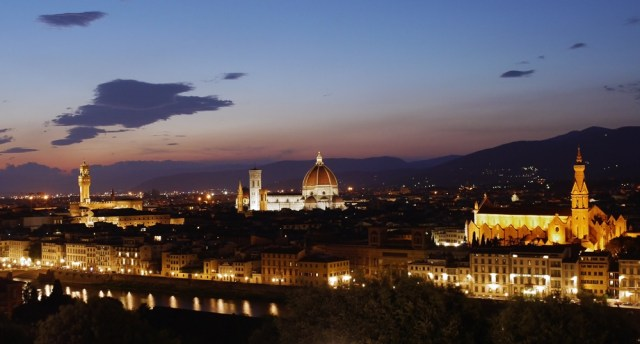 Florence, Italy by night - view over Cattedrale de Santa Maria de Fiore, Basilica di Santa Croce and Palazzo Vecchio from Piazzale Michelangelo - small. Italy's Absolute Musts