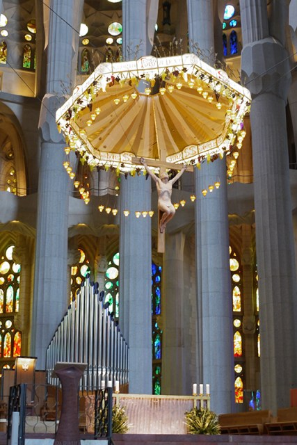 Tha altar of Sagrada Familia, Barcelona, Spain
