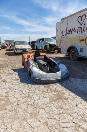 In Bombay Beach – An old Go-Cart sitting in, what used to be, a drive in movie theater.