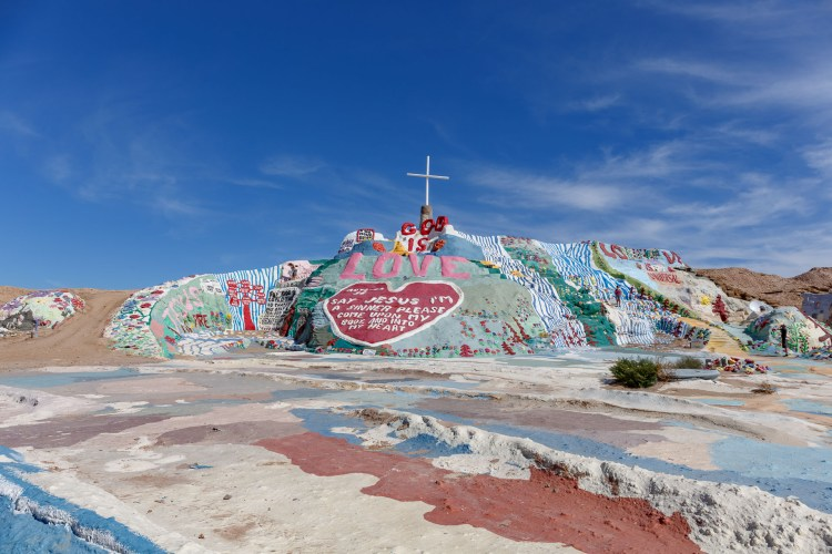 The colorful Salvation Mountain, with its messages of love and God