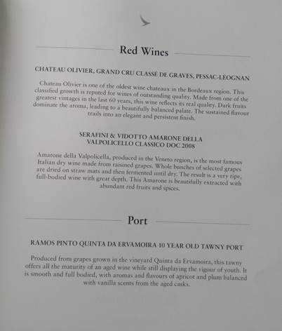 CX 542 red and fortified wine list (HK Travel Blog)