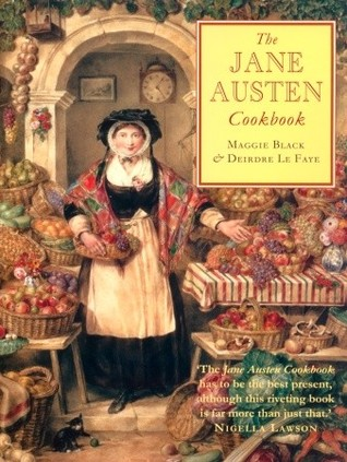The cover of the Jane Austen Cookbook shows a woman in 19th century dress at a food market.