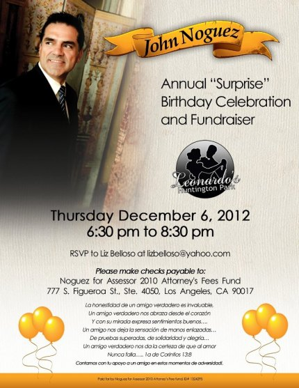 Copy of jailed Los Angeles County Assessor John Noguez Birthday Party invitation.