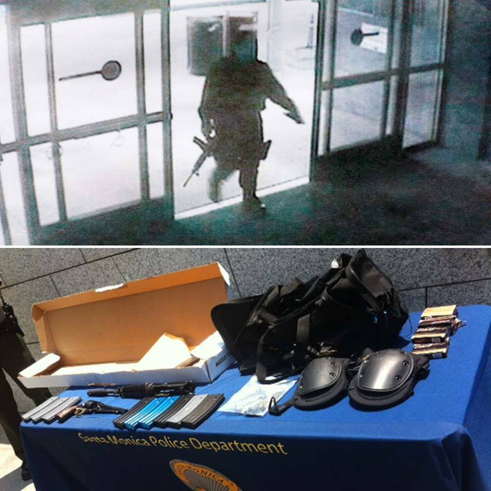 This is an image of the shooter that was released by Santa Monica Police officials on Saturday. Below is the image of the cache that was recovered at the scene.