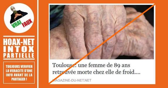Toulouse : une octogénaire probablement morte de froid chez elle