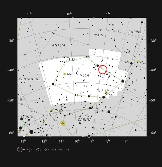 This chart shows the location of the aging double star IRAS 08544-4431 in the constellation of Vela (The Sails). All stars visible to the naked eye on a dark and clear night are shown. This star is visible with a small telescope as an unremarkable single faint point of light.