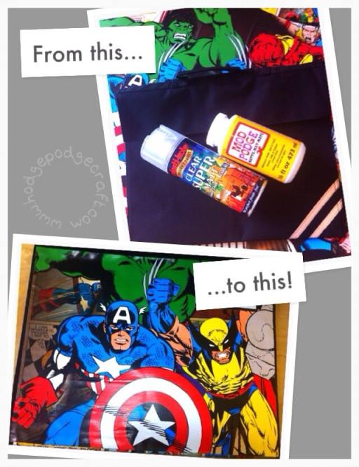 diy comic book bag how-to before & after