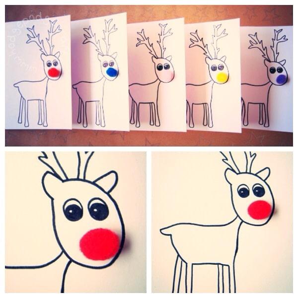 Rudolph pompom cards