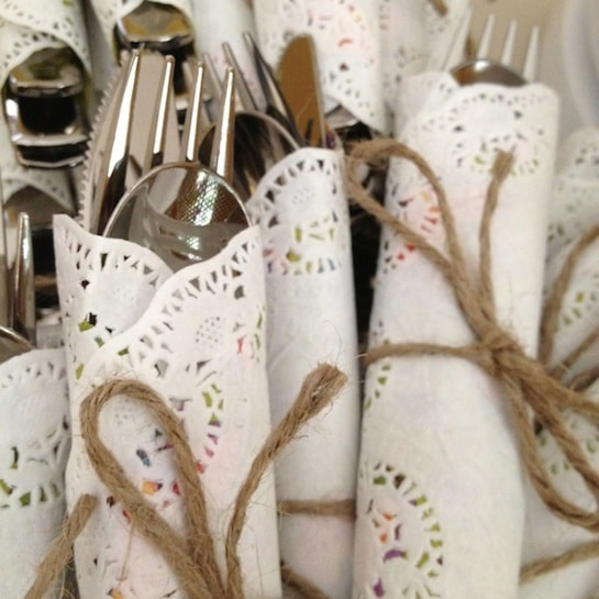 doily wrapped cutlery