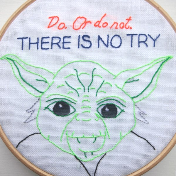 Yoda quote embroidery