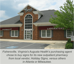 www.holidaysigns.com-fishersville-virginia-augusta-health-LED-awnings-backlit-hospital-wayfinding-signs