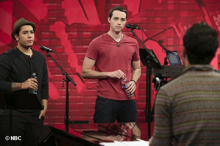 THE VOICE - Pictured: (L-R) Bryan Keith, Colin McLaughlin with Adam Levine. Photo by:  Tyler Golden/NBC