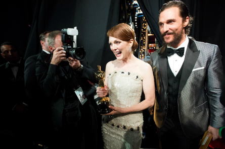 Julianne Moore after winning her Best Actress Oscar.  Photo: Richard Harbaugh / ©A.M.P.A.S.