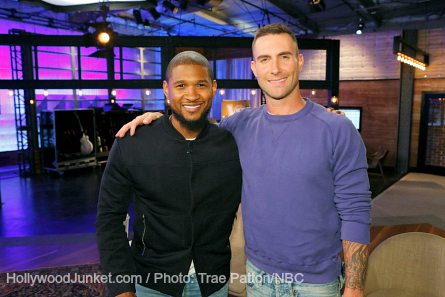 Pictured (l-r): Usher, Adam Levine