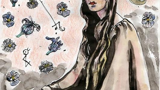 Femme assise aux constellations de pensées