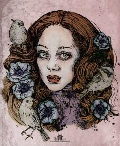 """Encre et numérique """"Marisa and birds"""""""
