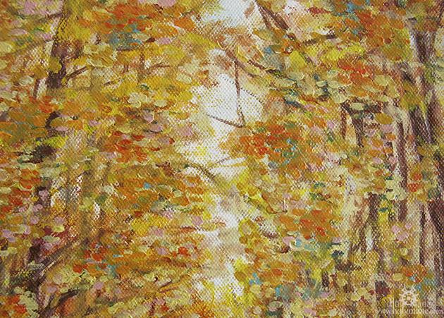 cavalière peinture à l'huile forêt automne