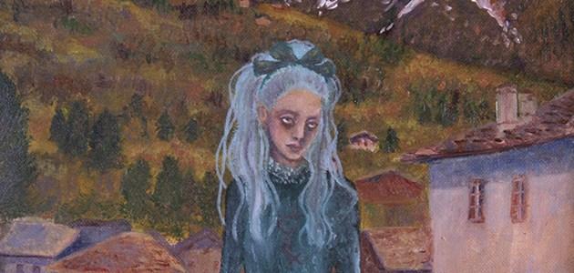 peinture à l'huile «Fille et montagne»