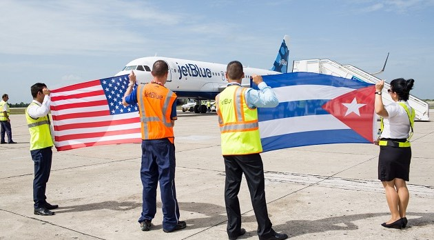Crewmembers at the Santa Clara Abel Santamaría International Airport in Cuba welcome JetBlue flight 387 on Wednesday, August 31, 2016, the first commercial flight to Cuba from the U.S. in more than 50 years.