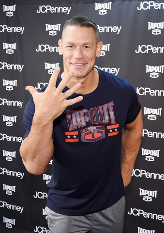 NEW YORK, NY - JANUARY 23: John Cena stops by the newest Tapout Fitness location in Herald Square to talk fitness and share his favorite looks from the Tapout fitness apparel collection available at JCPenney on January 23, 2017 in New York City. (Photo by Jamie McCarthy/Getty Images for JCPenney)