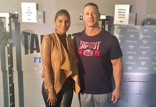 HOMBRE Magazine's Jazmin Ivy Rodriguez with John Cena at JCPenney's Tapout Fitness Apparel Collection Launch