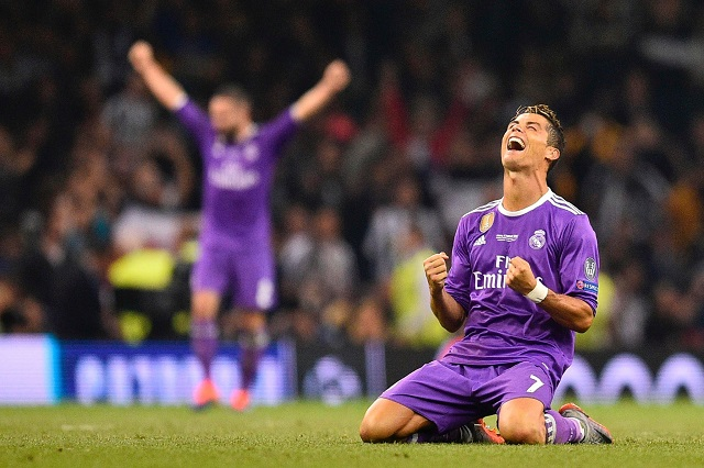 Cristiano Ronaldo celebrates his goal in the 2017 UEFA Champions final that would lead to Real Madrid to winning back-to-back titles in the prestigious tournament