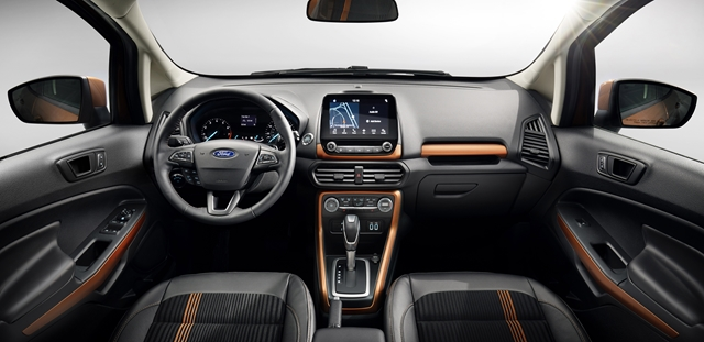 All-new Ford EcoSport SES features unique interior styling cues such as bold copper accents for instrument and door panels along with sport seats.