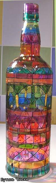 бутылка расписанная витражными красками