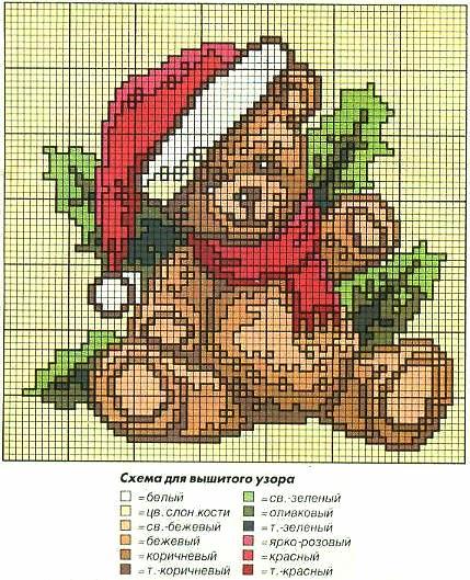 Схема вышивки медвежонка в шапке деда мороза